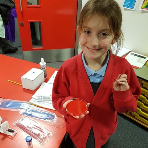 Natasha Waterhouse, technical manager in microbiology at the pathology centre South of Tyne and Wear shared this picture of her daughter enjoying science week at her school.