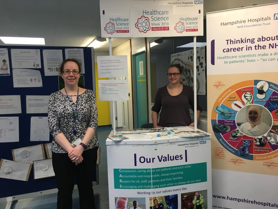 Thanks to Kinnari Bhatt for sharing this photo of Biochem staff participating in Healthcare Science Week at Basingstoke and North Hampshire Hospital.